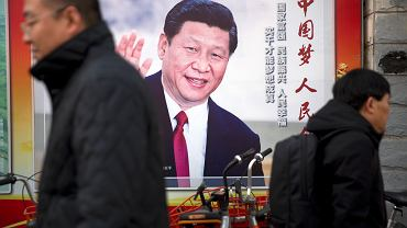 Xi Jinping na plakacie w centrum Pekinu.
