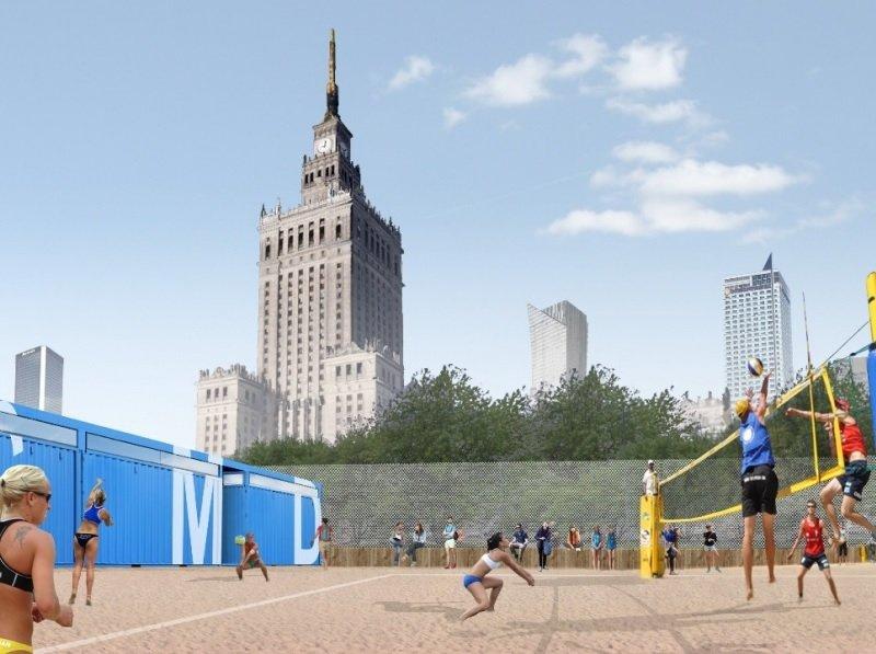 Wizualizacja sezonowej strefy rekreacyjnej przed Pałacem Kultury i Nauki
