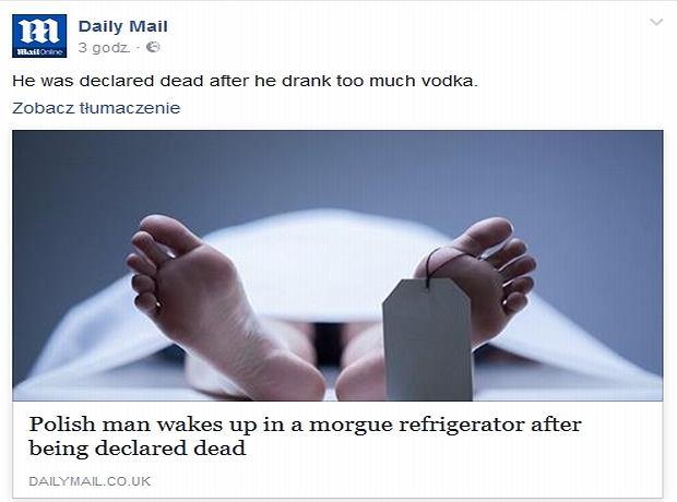Nagłówek z Daily Mail