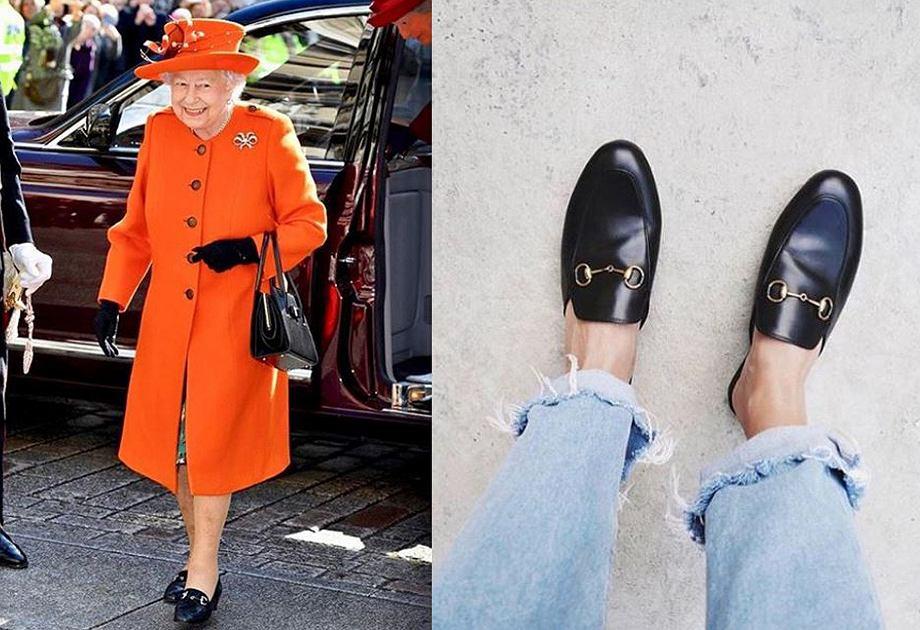 Królowa Elżbieta w mokasynach Gucci