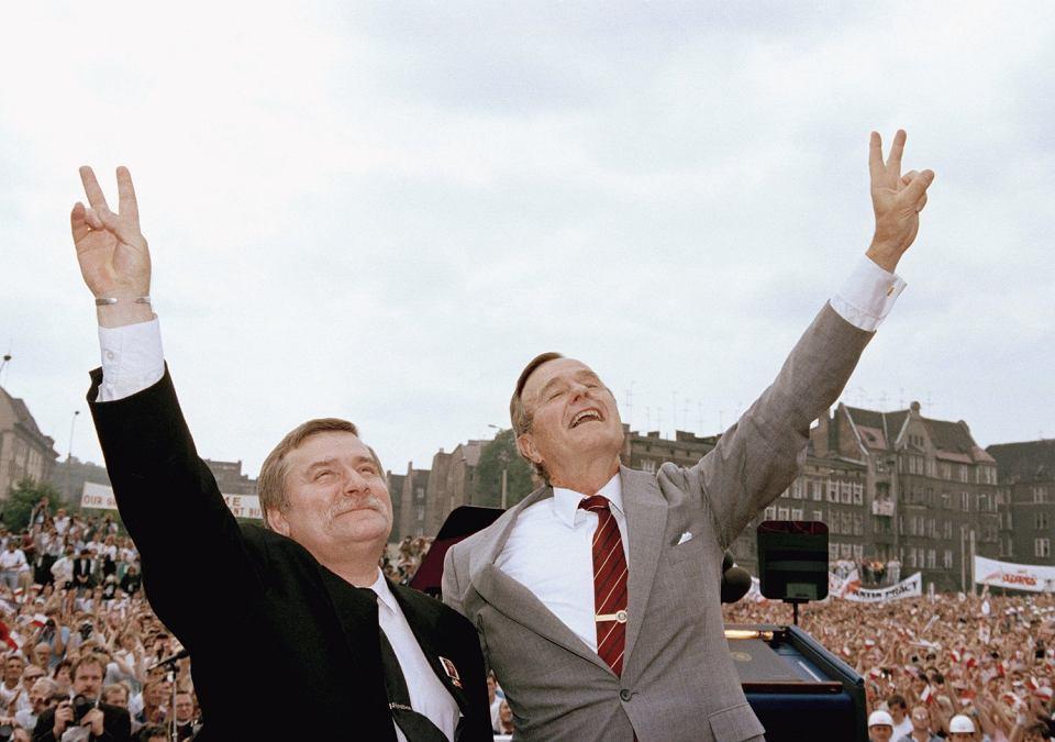 Prezydent George Bush i Lech Wałęsa w Stoczni Gdańskiej, 11.07.1989