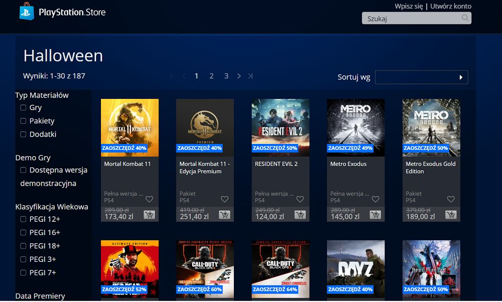 PlayStation Store, promocja na Haloween