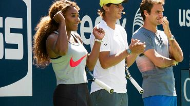 Serena Williams, Rafael Nadal i Roger Federer podczas 18th Annual Arthur Ashe Kids' Day przed US Open