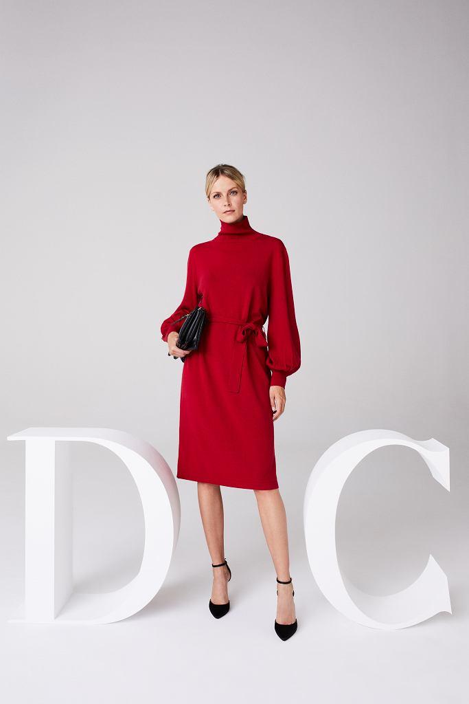 Czerwona sukienka dzianinowa