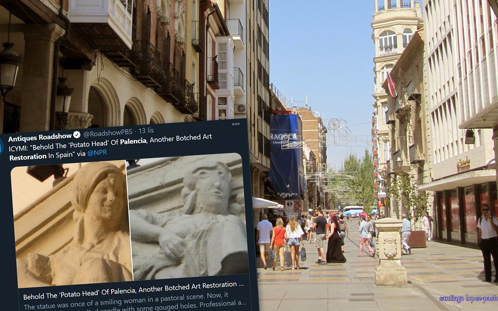 Palencia w Hiszpanii i odrestaurowana rzeźba