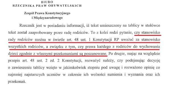 Fragment pisma Fundacji do RPO
