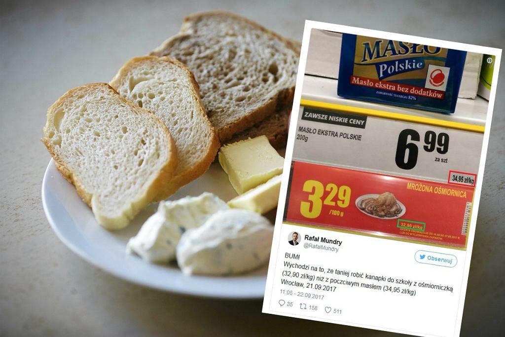 W jednym ze sklepów kilogram masła jest droższy niż kilogram ośmiornicy