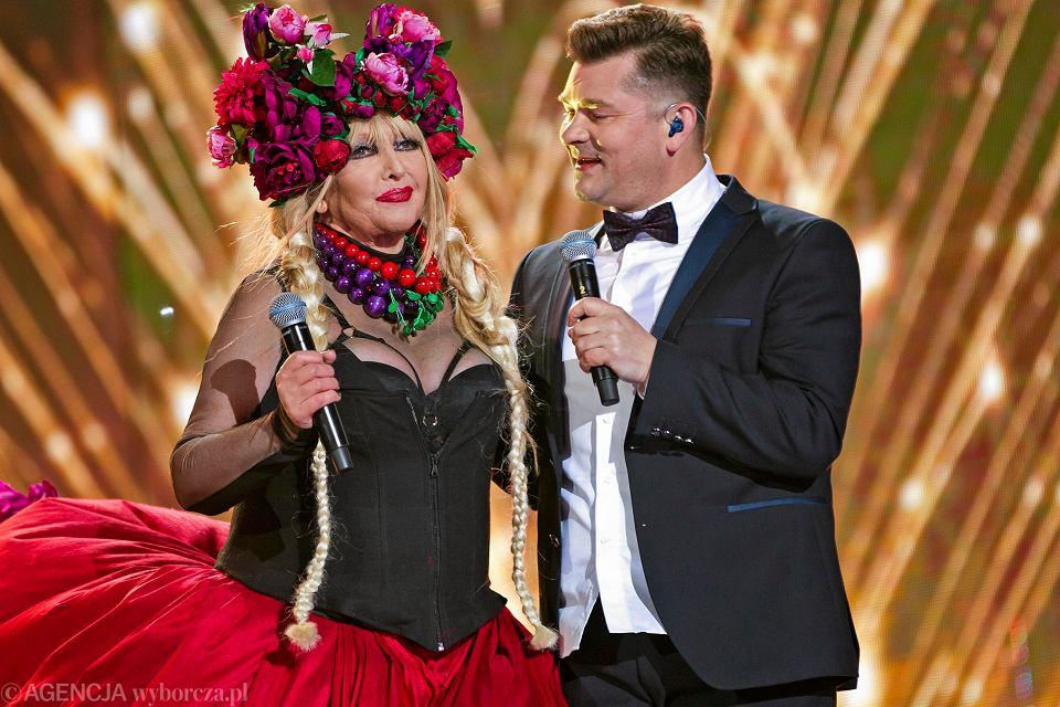 Maryla Rodowicz i Zenek Martyniuk podczas imprezy sylwestrowej zorganizowanej przez TVP2; Zakopane, 2017 r.