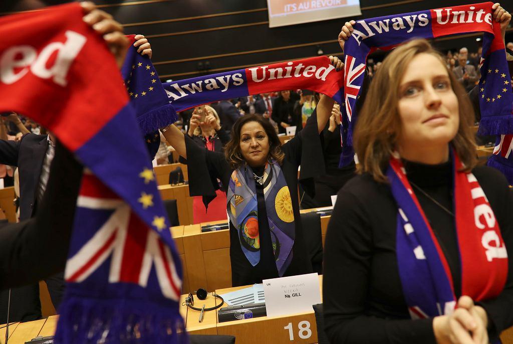 29.01.2020, Bruksela, europarlamentarzyści tuż przed głosowaniem nad brexitem.