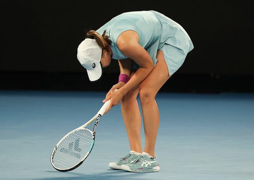 14.02.2021, Melbourne, Iga Świątek podczas meczu z Simoną Halep w 1/8 finału Australian Open.