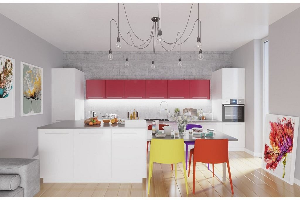 Kolorowa kuchnia w aranżacji stylistów Agata Meble.