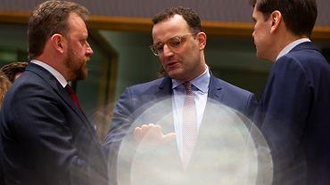 Spotkanie ministrów zdrowia Niemiec - Jensa Spahna, i Polski - Łukasza Szumowskiego w sprawie walki z epidemią, 6 marca w Brukseli
