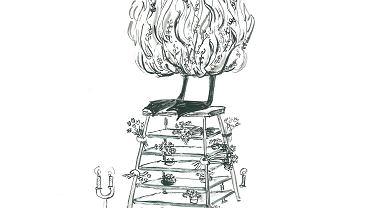 Rysunek z książki Wojciecha Maziarskiego 'Nowe czytanki o dobrej zmianie'