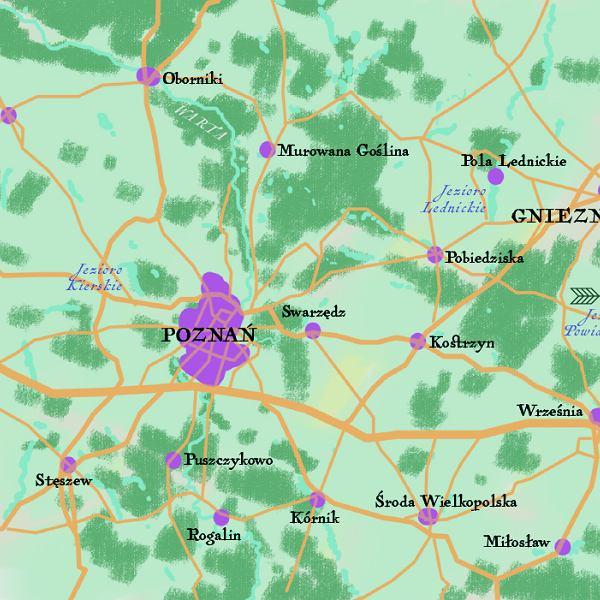 Okolice Poznania, mapa