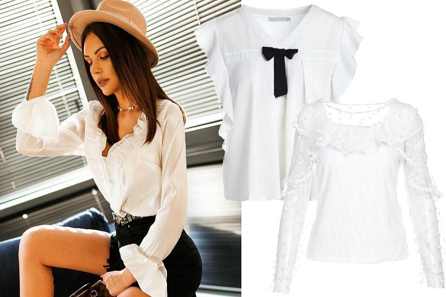 Białe bluzki z falbankami