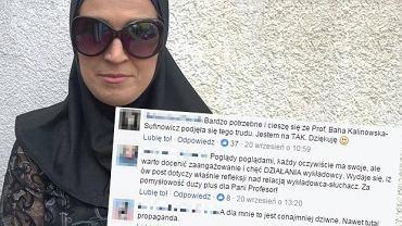 Prof. Baha Kalinowska-Sufinowicz w przebraniu muzułmanki. Akcja wywołała niemała dyskusję