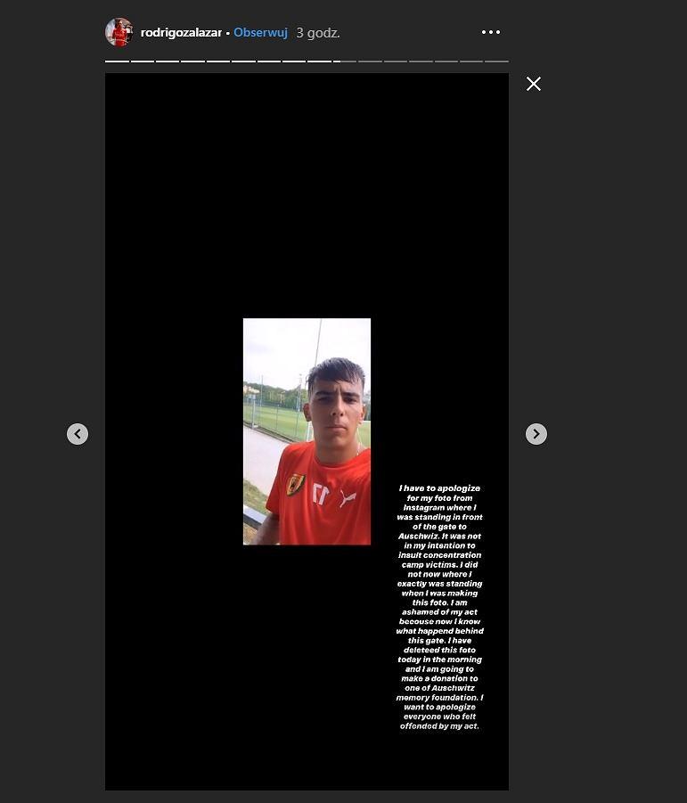 Rodrigo Zalazar przeprosił za zdjęcie zrobione w Auschwitz