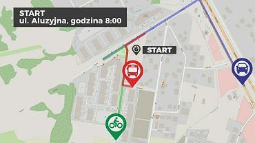 Rowerzysta, pasażer, kierowca na trasie Białołęka - Mokotów