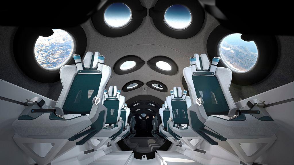 Wnętrze kabiny Spaceship Two, statku Virgin Galactic