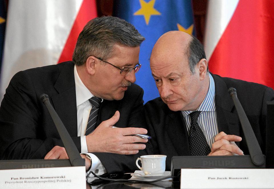 11.03.2011, prezydent Bronisław Komorowski i minister finansów Jacek Rostowski podczas debaty nad rządowym projektem reformy OFE.