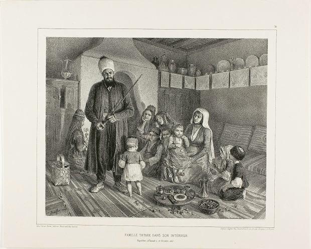 Dom rodziny tatarskiej (francuska litografia zXIX w.)