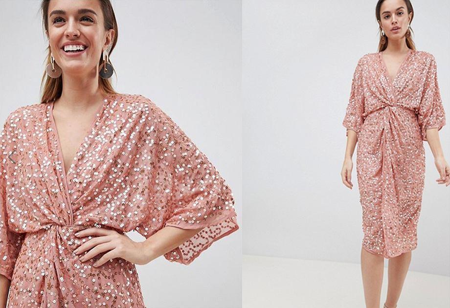 Sukienka Asos z cekinami ma krój kimona