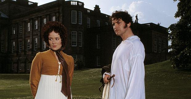 'Duma i uprzedzenie'. Scena spotkania w Pemberly: Elizabeth (Jennifer Ehle) i pan Darcy (Colin Firth)