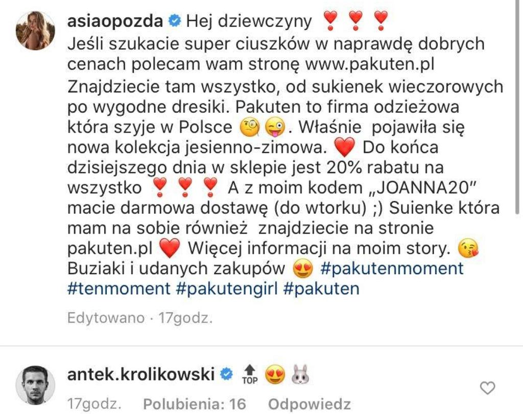 Joanna Opozda i Antek Królikowski
