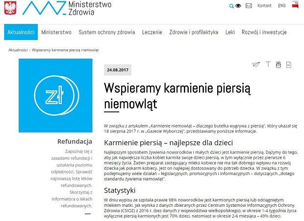 Ministerstwo przypomina w nim polskim mamom, że naturalne karmienia jest najlepszym sposobem żywienia noworodków i małych dzieci.