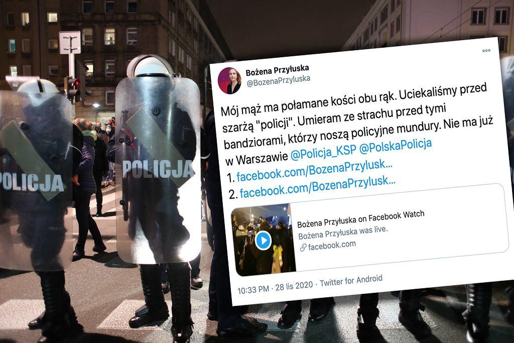 Protest w Warszawie. Mąż działaczki Strajku Kobiet ma połamane obie ręce. 'Uciekaliśmy przed szarżą 'policji''