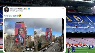 Nietypowa kampania Joana Laporty. Chce być prezesem Barcelony, a transparent wywiesił... obok stadionu Realu