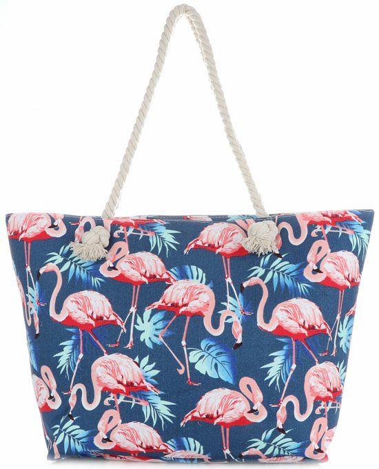 Uniwersalna Plażowa Torba Damska XXL Flamingi firmy Scarf's Multikolor Jeans, cena: 31,85 zł