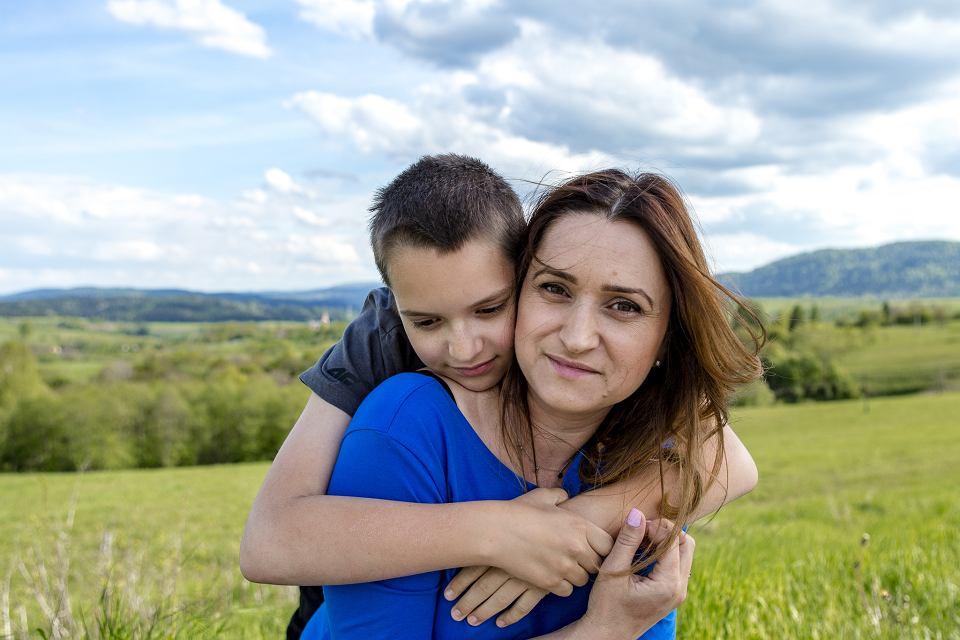 Ustrzyki Dolne. Angelika Szmyd z synem Piotrem