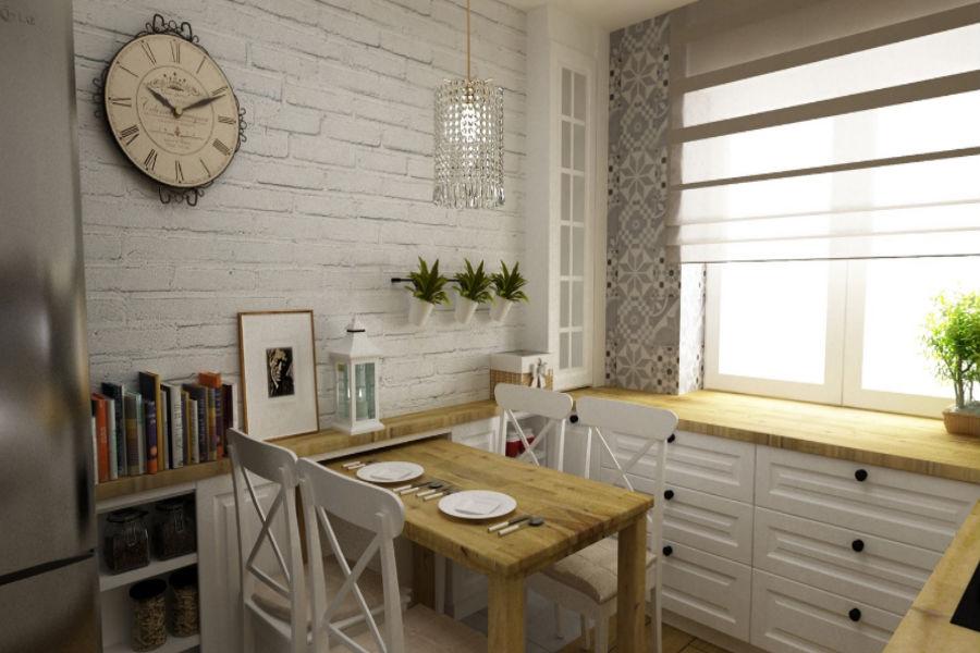 Drewniane elementy w białej kuchni