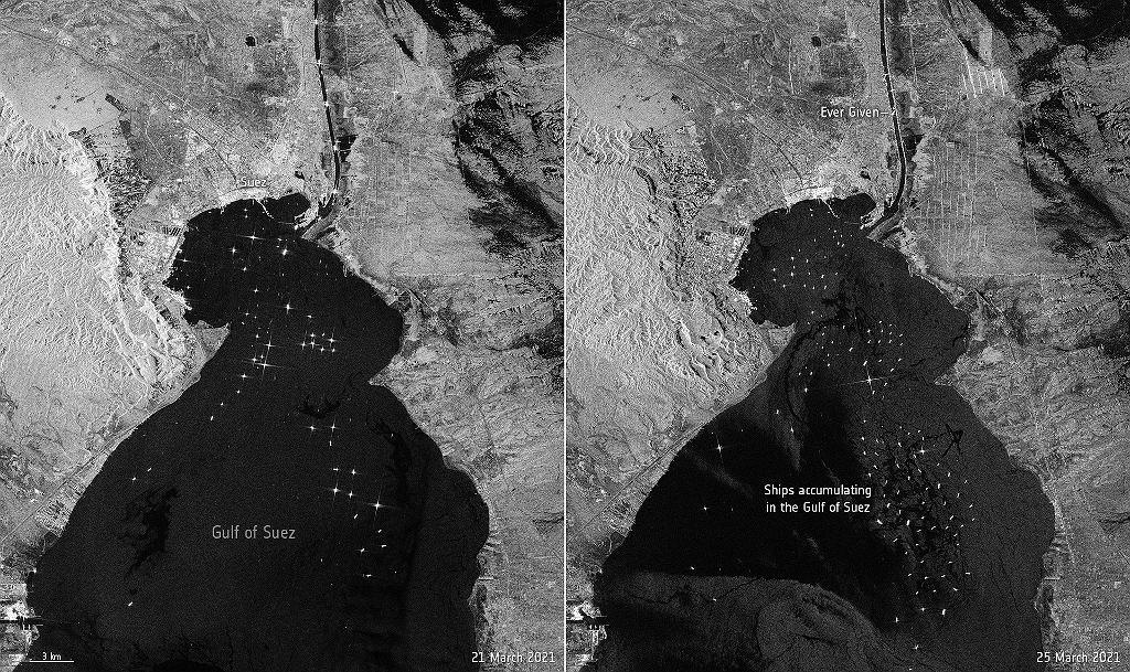 Kanał Sueski. Po lewej zdjęcie z 21 marca, sprzed blokady, po prawej morski korek oczekujących statków z 26 marca.