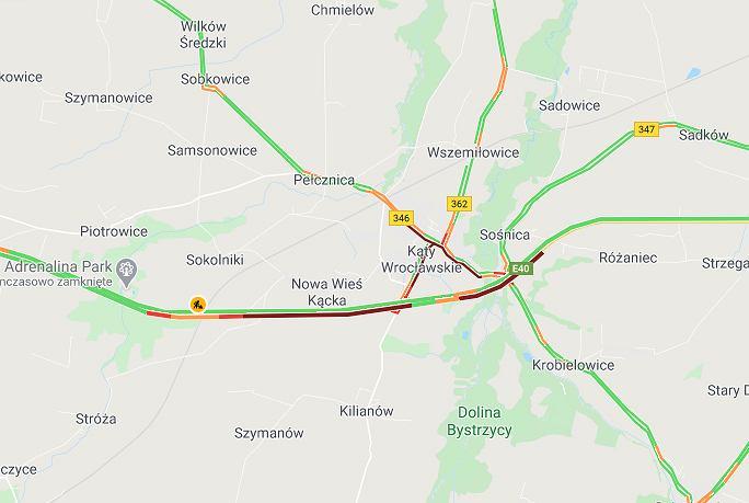 Korki na autostradzie A4 po wypadku na jezdni w stronę Wrocławia