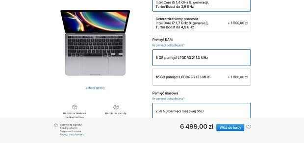 Ceny pamięci RAM do MacBooków Pro 13