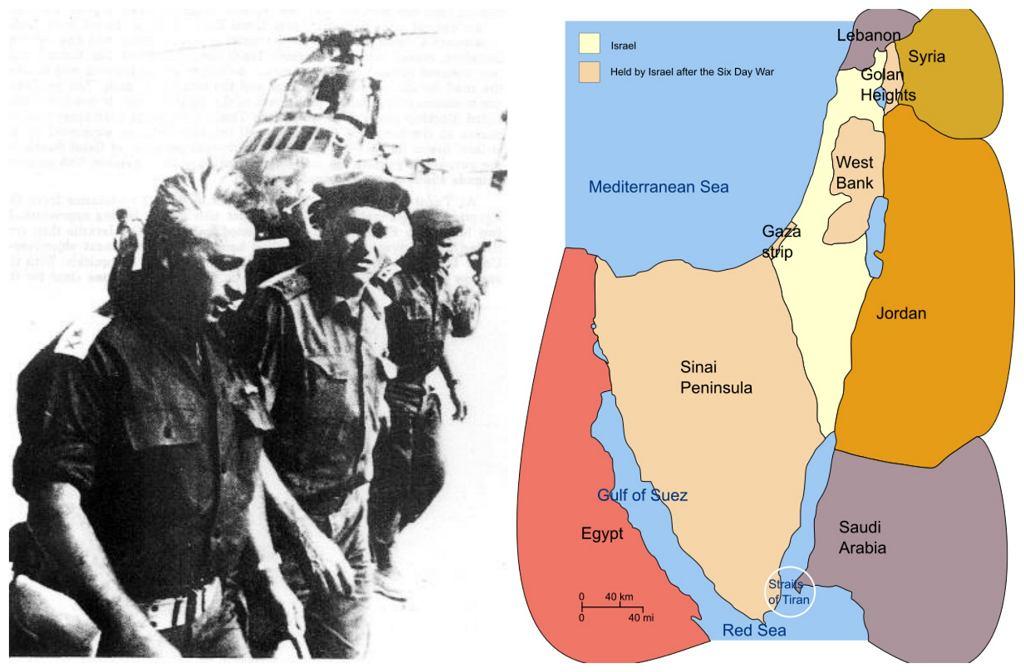 Pierwszy z lewej izraelski generał-major Ariel Szaron podczas bitwy o Abu-Ageila, jednej z ważniejszych bitew wojny sześciodniowej. Po lewej terytoria Izraela po wojnie sześciodniowej (fot. Wikimedia.org / Domena publiczna / CC BY-SA 3.0)