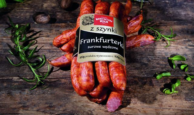 Frankfurterki surowe wędzone z szynki z Chrzanowskiej Manufaktury Wędlin