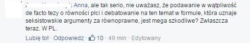Komentarze pod debatą 'Rolą kobiety jest prowadzenie domu' z udziałem Małgorzaty Terlikowskiej i Anny Dryjańskiej.