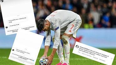 Alvaro Morata, rzut karny półfinał Euro 2020. Obelgi na Instagramie. Źródło: AP/Instagram