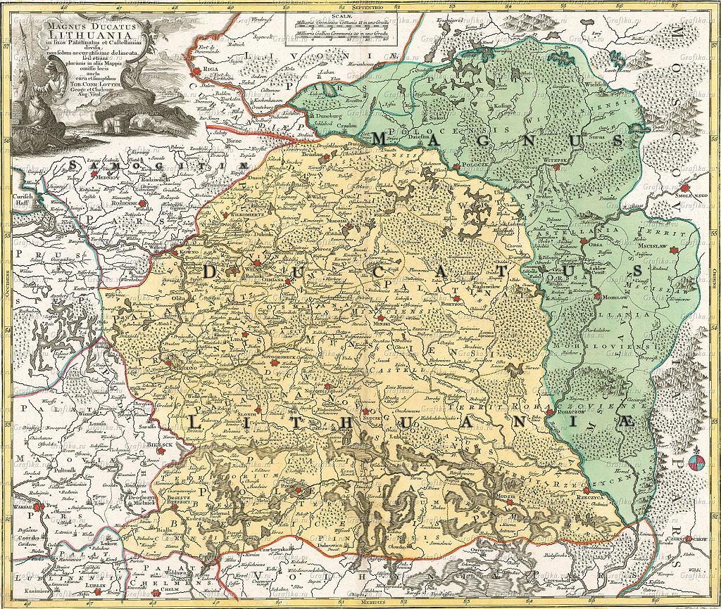 Datowana na 1780 r. mapa Wielkiego Księstwa Litewskiego, w którego skład wchodziły ziemie białoruskie