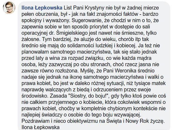 Ilona Łepkowska krytykuje Weronikę Rosati