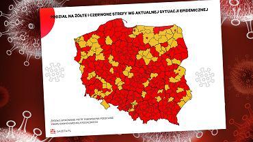 Premier zapowiada czerwoną strefę w całym kraju. I bez tego mało który powiat byłby żółty [WYKRES DNIA]