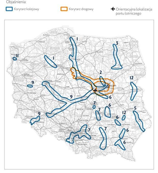 Mapa - korytarze kolejowe oraz drogowe