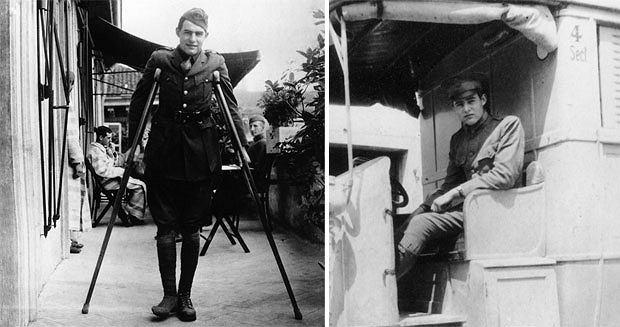 logo z klasą, Ernest Hemingway: człowiek, który wymyślił męskość, Ernest Hemingway podczas rekonwalescencji w szpitalu w Mediolanie oraz w karetce Czerwonego Krzyża. 1918r.