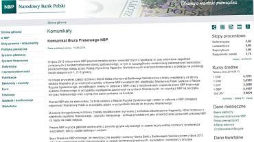 Fragment oświadczenia NBP, które ukazało się w niedzielę
