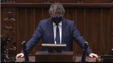 Maciej Wąsik podczas obrad Sejmu