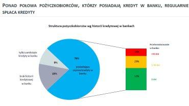 Struktura pożyczkobiorców według histroii kredytowej w bankach.