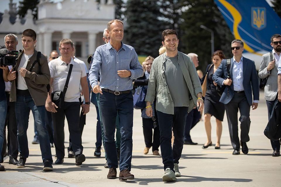 7.07.2019, Donald Tusk i Wołodymyr Zełenski w regionie Ługańskim.
